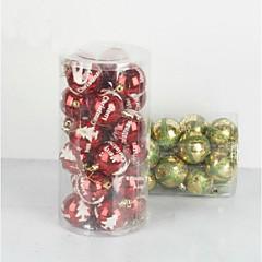 24 pcs Christmas Decorations Hanging Drop Electroplating Balls (Φ=7cm)