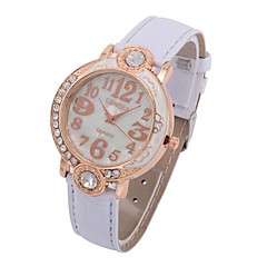 Coway Leisure Time Women Round Golden Diamond Dial  Leather Band Quartz Analog Wrist Watch(Assorted Color)