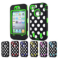 3-in-1 Design Dot Pattern Hard Case with Silicone Inside Cover for iPhone4/4S (Assorted Colors)