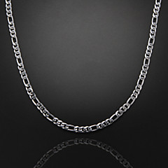 59cm,6mm,Silver-Plated Figaro Chain Men's Chain Necklace,Uneasy Fade