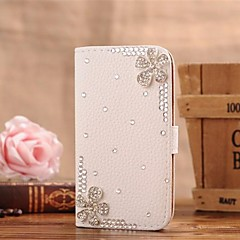 Diamond Flowers PU Leather Full Body Case with Stand and Card Slot for iPhone 4/4S