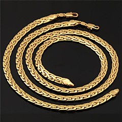 U7® Men's High Quality 18K Gold Filled Figaro Chunky Chain Necklaces Bracelet Set 6MM 56CM With 18K Stamp