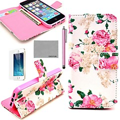 Coco fun® subiu caso de corpo inteiro padrão de flor de couro pu com película, suporte e stylus para iphone 5 / 5s