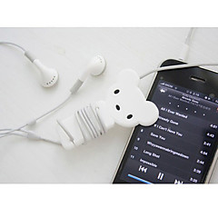 White Bear Cartoon Earphone Cable Wire Cord Organizer Cable Winder