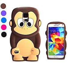 3d ontwerp cartoon aap patroon siliconen zachte hoes voor samsung s5 i9600 (verschillende kleuren)