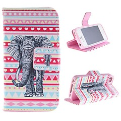The Elephant Design PU Leather Case with Card Slot and Stand for iPhone 4s