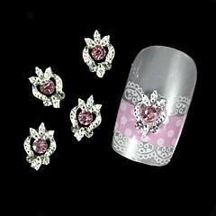 10pcs Pink Rhinestone Silver DIY Alloy Nail Art Decoration
