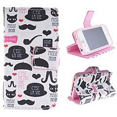 Cartoon  PU Leather Case with Card Slot and Stand for iPhone 4s