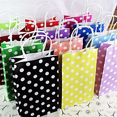 공예 파티 폴카 도트 종이 지프 가방 휴대용 종이 가방