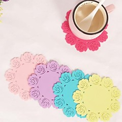 "Rose Shaped Silicone Cup Mat Heat Resistant to High Temperature Prevent Slippery 4""x4""x0.1""(Color Random)"