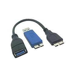 마이크로 USB에 USB 3.0 여성 3.0 남성 OTG 케이블 + USB 3.0 남성 마이크로 USB 3.0 남성 apapter 키트에