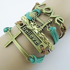 pulseira envoltório marrom âncora de ouro pulseira de liga verde 20cm ocidentais do vintage das mulheres (1pc)