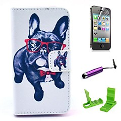 Glasses Dog Pattern PU Leather Case with Screen Protector and Stylus for iPhone 4/4S