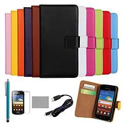 Voor Kaarthouder / Portemonnee / met standaard / Flip / Patroon hoesje Volledige behuizing hoesje Effen kleur Hard PU-leer Samsung Ace 2