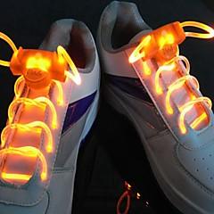 Long Bright Flash Slow Flash  Waterproof LED Shoelace Orange (1-Pair)