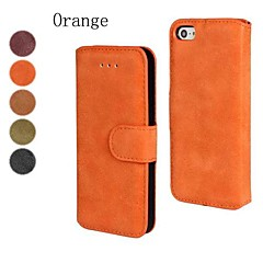 Scrub PU Leather Full Body Cover with Stand and Card Slot for iPhone 4/4S (Assorted Color)