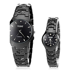 Men's Women's Dress Watch Fashion Watch Wrist watch Quartz Stainless Steel Band Black Brand