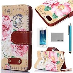 caso corpo de coco fun® retro padrão floral de couro pu completa com filme, de pé e stylus para iphone 5 / 5s