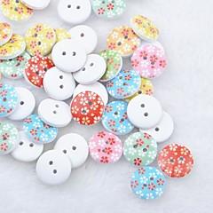 floral recados scraft costura botões de madeira diy (10 peças de cor aleatória)