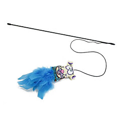 고양이 반려동물 장난감 티저 스틱 블루 / 퍼플 / 로즈 직물 / 스펀지