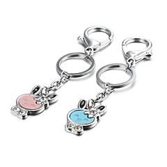 1 paire couple alliage de bonbons de couleur lapin de zinc porte-clés (10 premiers clients avec la boîte ajouté)