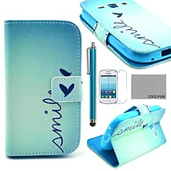COCO FUN® Cute Heart Pattern PU Leather Case with Screen Protector and Stylus for Samsung Galaxy Ace 3 S7272/S7275