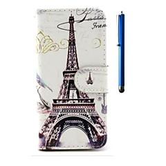 For iPhone 6 etui iPhone 6 Plus etui Pung Kortholder Med stativ Flip Mønster Etui Heldækkende Etui Eiffeltårnet Hårdt Kunstlæder for