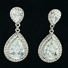 Graceful Drop Earring Dangle with Clear Rhinestone Zircon Bridal Wedding Prom Party Jewelry