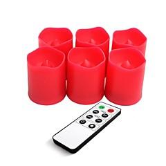 סט של 6 פלסטיק צבע אדום הוביל נרות זיכרון עם שלט וטיימר
