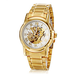 Men's Roman Number Hollow Dial Gold Steel Band Automatic Self Wind Dress Watch (Assorted Colors)