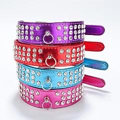 Kissat / Koirat Kaulapannat Heijastava / Tekojalokivi Punainen / Maalattu / Violetti / Ruusunpunainen PU Leather