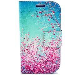 samsung s3 Mini i8190 için durum ve kart yuvası ile kiraz çiçeği deseni pu deri