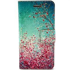 Cherry Blossoms in Full Bloom Pattern PU Leather Full Body Case with Card Slot and Stand for iPhone 5/5S