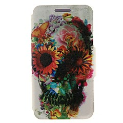 Kinston Flower Decorated Skull Coloured Drawing Pattern PU Leather Full Body Case with Stand for iPhone 4/4S