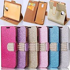 Glitter Powder Style PU Leather Full Body with Stand and Card Slot for Samsung Galaxy S5 I9600 (Assorted Colors)