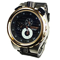 Men's Big Steel Dial Silicone Band Quartz Analog Wrist Watch(Assorted Colors)