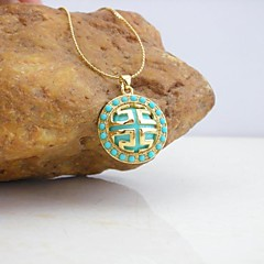 18K Golden Plated Great Wall Lines Turquoise Pendant