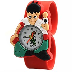 Children's Cartoon Pattern Round Dial Silicone Band Quartz Watch (Assorted Colors)