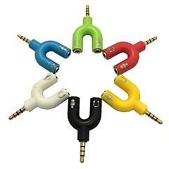 3.5mm stereo 4-positie plug naar 3.5mm mic& koptelefoonaansluiting adapter voor pc (assorti kleur)