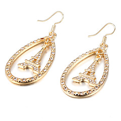 Fashion Iron Tower Drop Crystal Golden Alloy Drop Earrings(1 Pair)