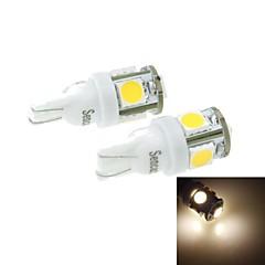 T10(149 168 W5W)2.5W 5X5054SMD 160-180LM 3000-3500K Warm White Light for Car Lndicator (DC12-16V)
