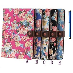Two Folding Pattern Flower Leather and Pen for iPad Air /iPad 5 (Assorted Colors)