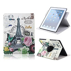 Flowers Butterflies and Eiffel Cramp Iron Design PU Full Body Case with Stand for iPad Air