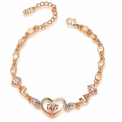 Noble 18K Rose Gold Plated Austria Crystal Simulated Diamond Heart Bracelet