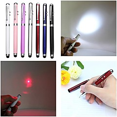 lt-4-in -1 functie balpen capacitive touch rode laser pointer (2mw.650nm.3 x knop cell.multicolor)