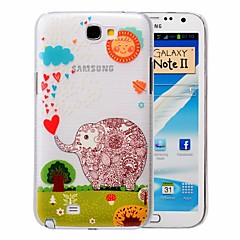 Cartoon Elephant Pattern PC Brushed Case for Samsung Galaxy Note 2 N7100