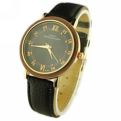Men's Round Dial PU Band Quartz Analog Wrist Watch