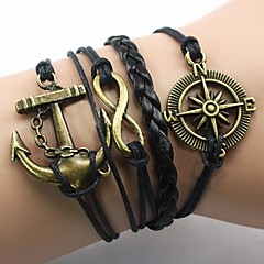 Lureme European Style Men's Anchor Black Compass Eight Characters Woven Bracelet
