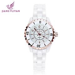 Skone ® rodada marcação creamic rhinestons quartzo relógio de pulso das mulheres (cores sortidas)