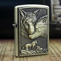 huile terre loups d'or motif en relief de métal léger